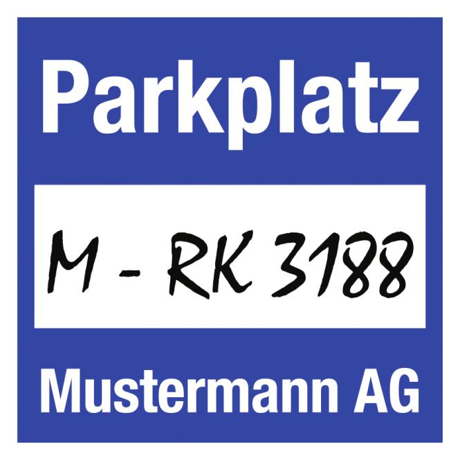 Parkplakette mit weißem Firmeneindruck, Folie, 80x80 mm, 50 Stück/VE