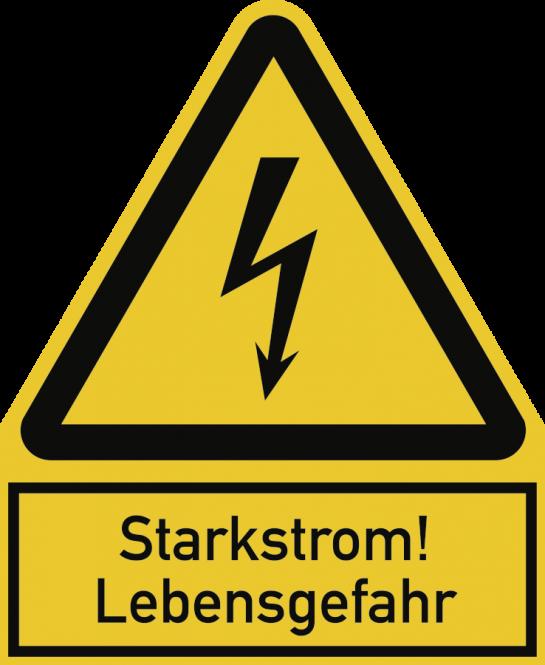 Starkstrom! Lebensgefahr, Kombischild, Folie, 200x244 mm