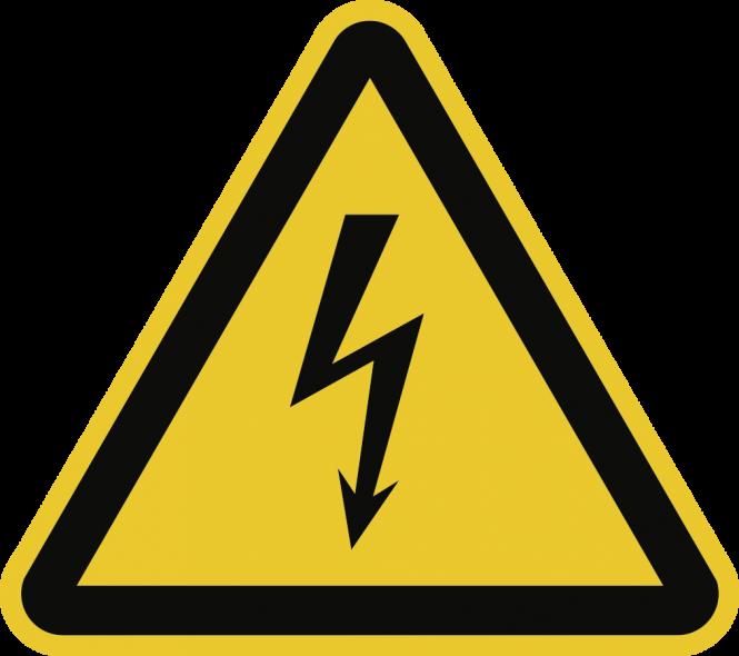Warnung vor elektrischer Spannung ISO 7010, Alu, 100 mm SL