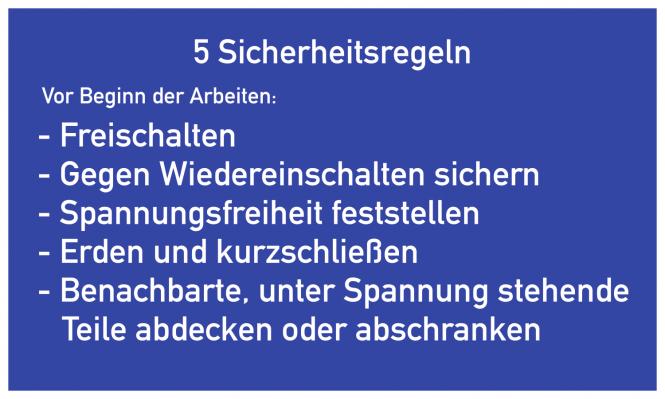 5 Sicherheitsregeln, Textschild, Folie, 400x250 mm