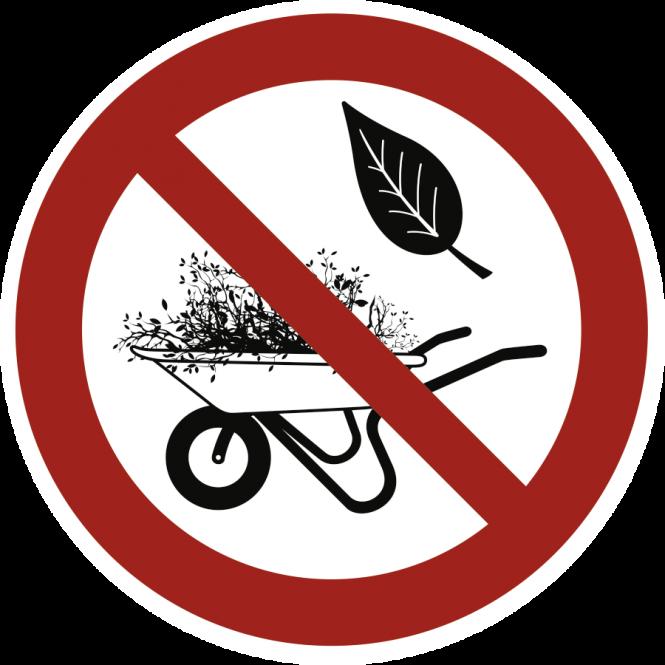 Grün- und Gartenabfälle abladen verboten, Alu, Ø 200 mm