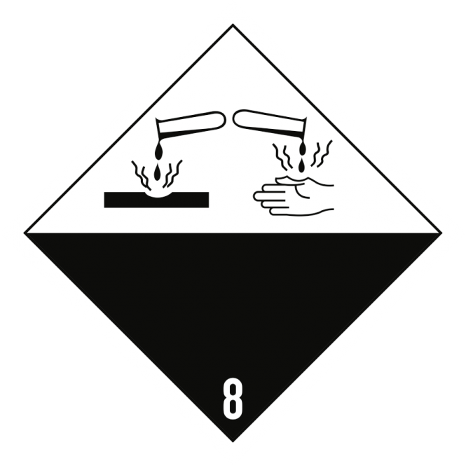Gefahrzettel Klasse 8, Papier, 100x100 mm, 1000 Stück/Rolle