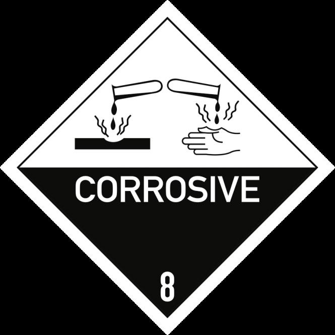 Gefahrzettel Klasse 8 Text CORROSIVE, Folie, 100x100 mm, 1000 Stück/Rolle