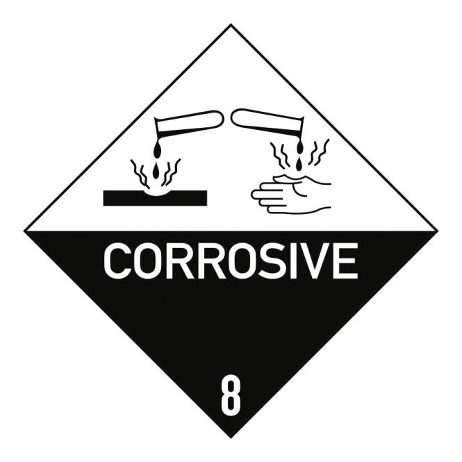 Gefahrzettel Klasse 8 Text CORROSIVE, Papier, 100x100 mm, 1000 Stück/Rolle