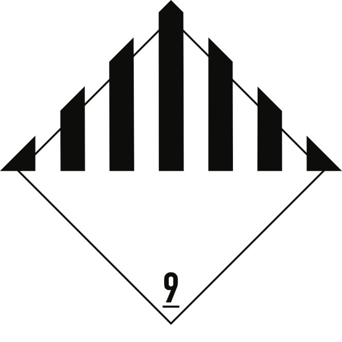 Gefahrzettel Klasse 9, Folie, 250x250 mm