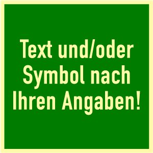 Rettungszeichen-Text u./o. Symbol nach Angabe, Folie, nachl., 160-mcd, 100x100mm